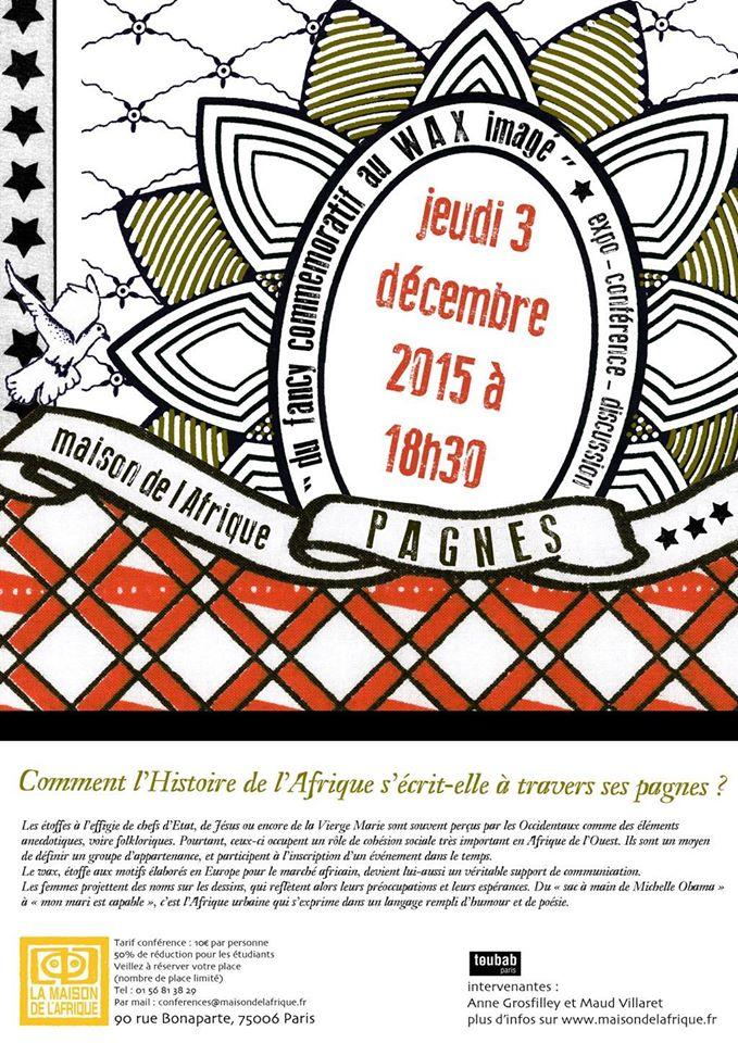 Rendez vous ce jeudi 3 décembre 2015 à 18H30 (Maison de l'Afrique)